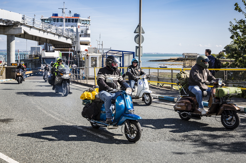 Motorcycles and scooters leave Wightlink ferry