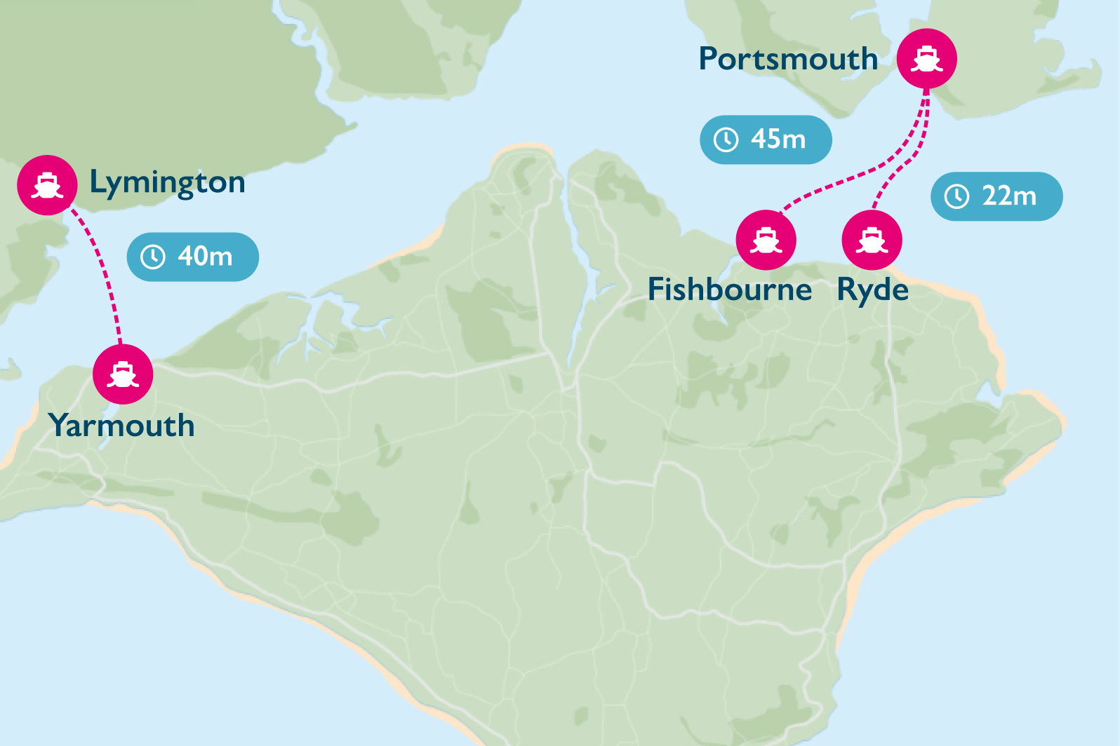 Map showing Wightlink routes