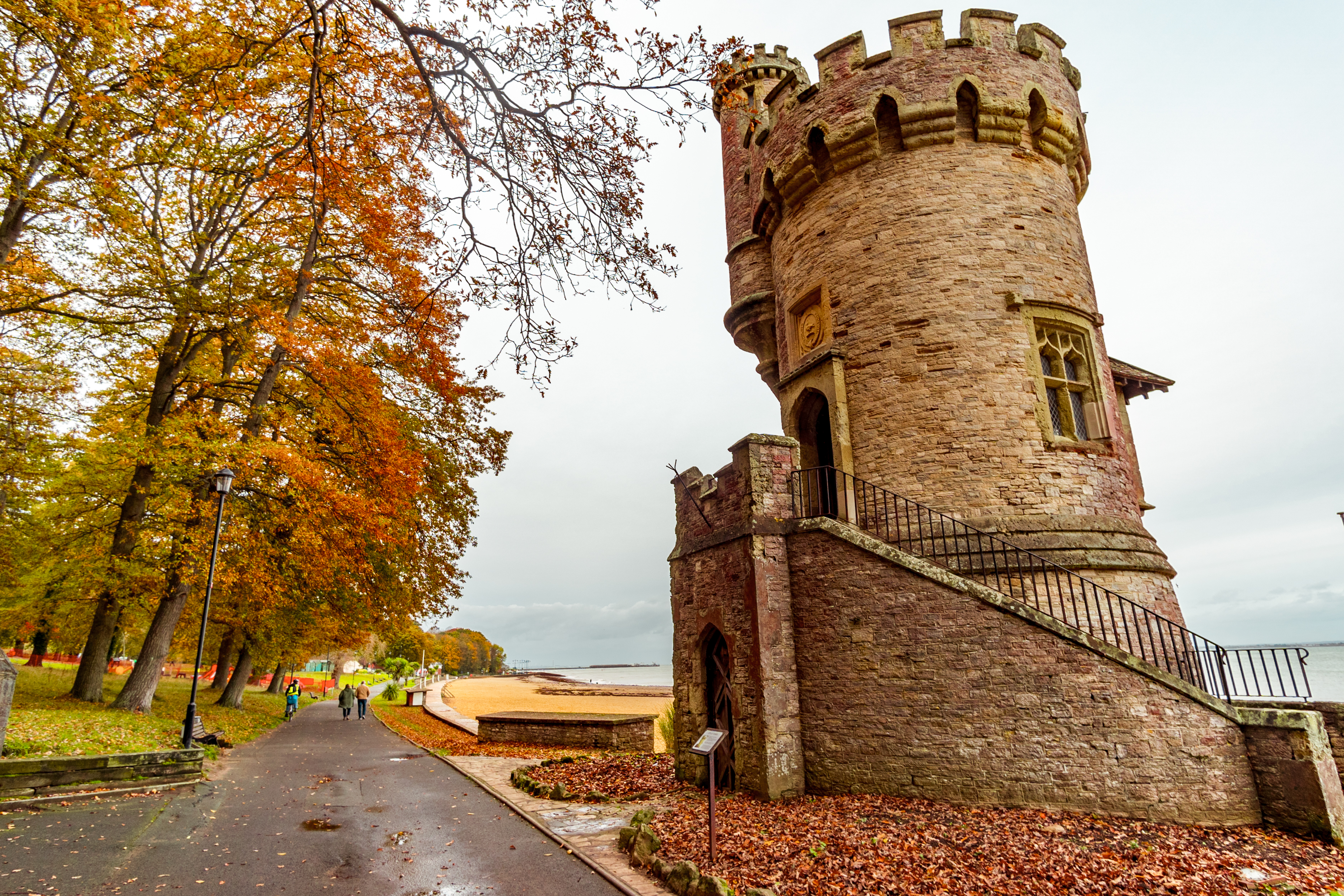 Appley Tower in Ryde on the Isle of Wight, in autumn, next to trees and a path