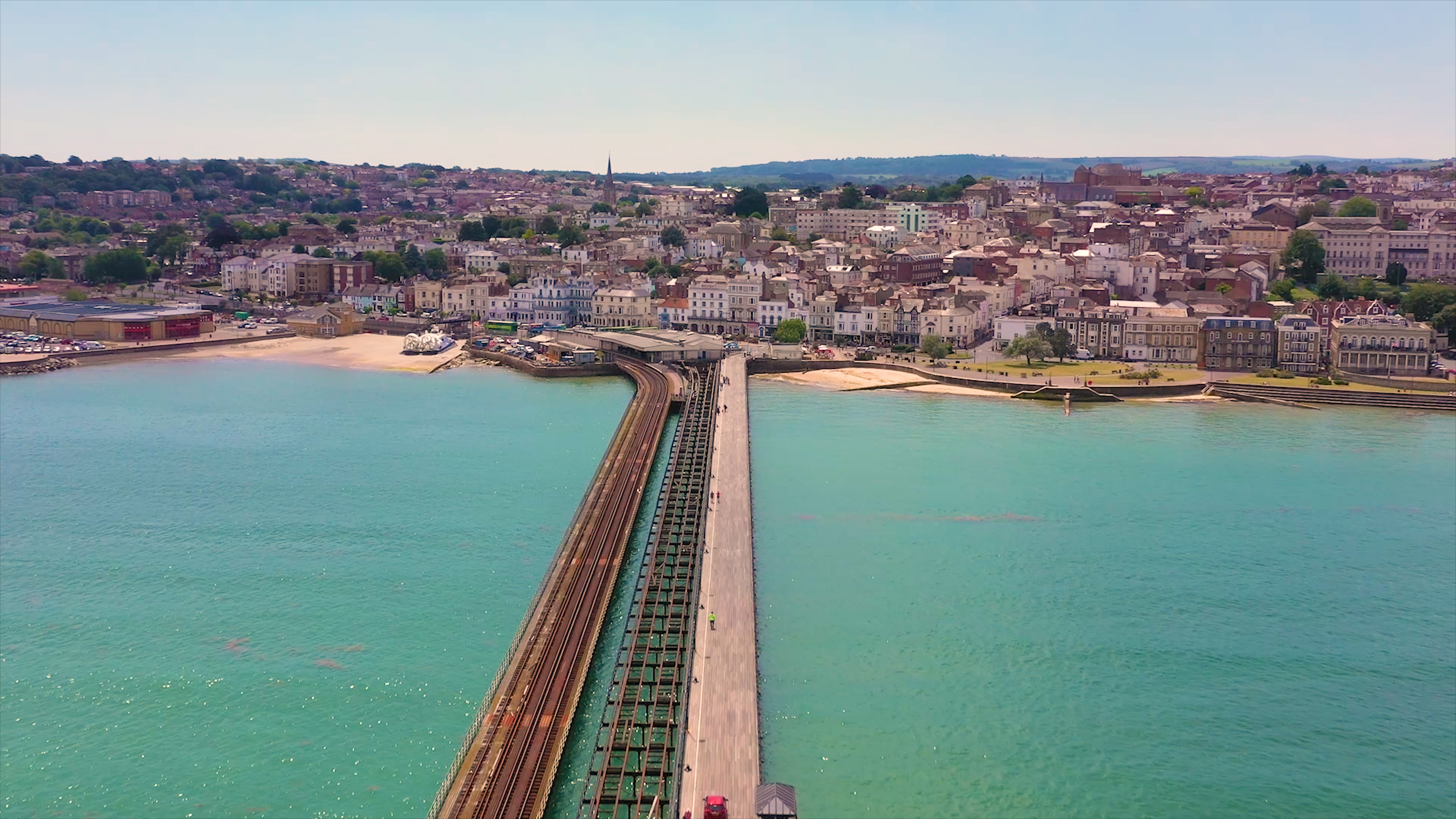 Aerial view of Ryde Pier and Ryde, Isle of Wight