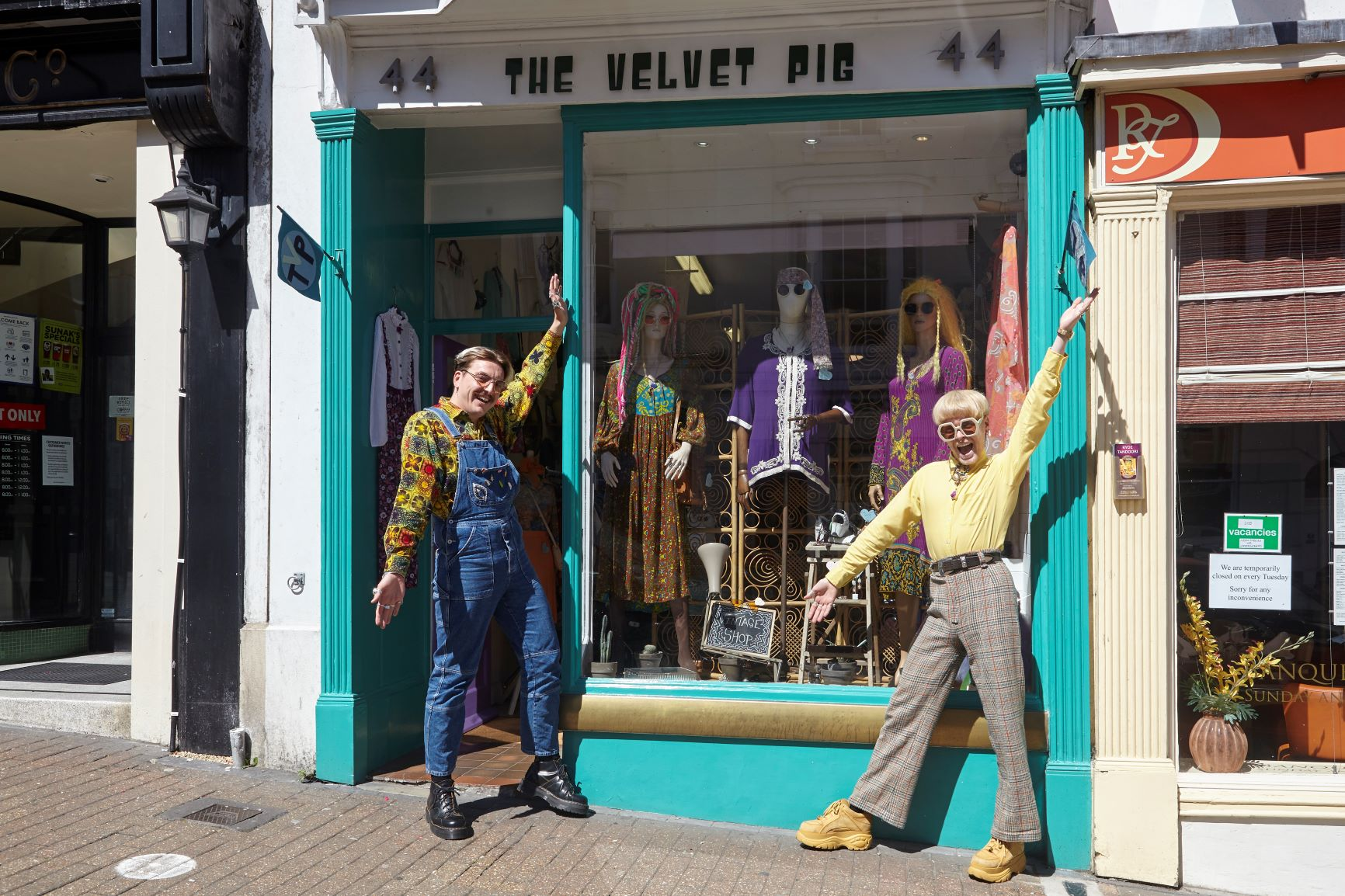 Shopkeepers standing outside The Velvet Pig shop in Ryde, Isle of Wight