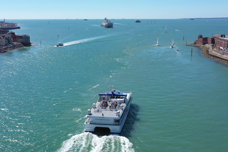 Wightlink's FastCat catamaran leaving Portsmouth harbour into the Solent