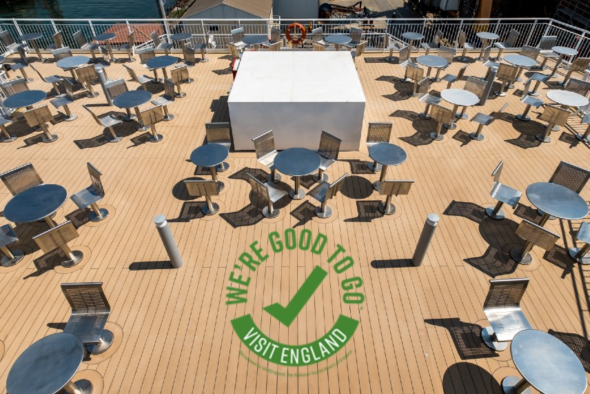 You'll be pleased to know that we have plenty of space for social distancing onboard in our spacious passenger lounges or outside decks. We have also achieved the 'We're Good to Go' mark from VisitEngland which shows that we've made necessary changes to our service because of coronavirus. We'd recommend booking a 'Standard' ticket, which gives you reassurance if things change in your area or ours. There are no online amendment fees on either of our vehicle ticket types – Standard or Economy – so you won't lose out if you change your mind about when you want to sail but our Standard vehicle ticket has the added benefit of being refundable (minus a cancellation fee of £5).