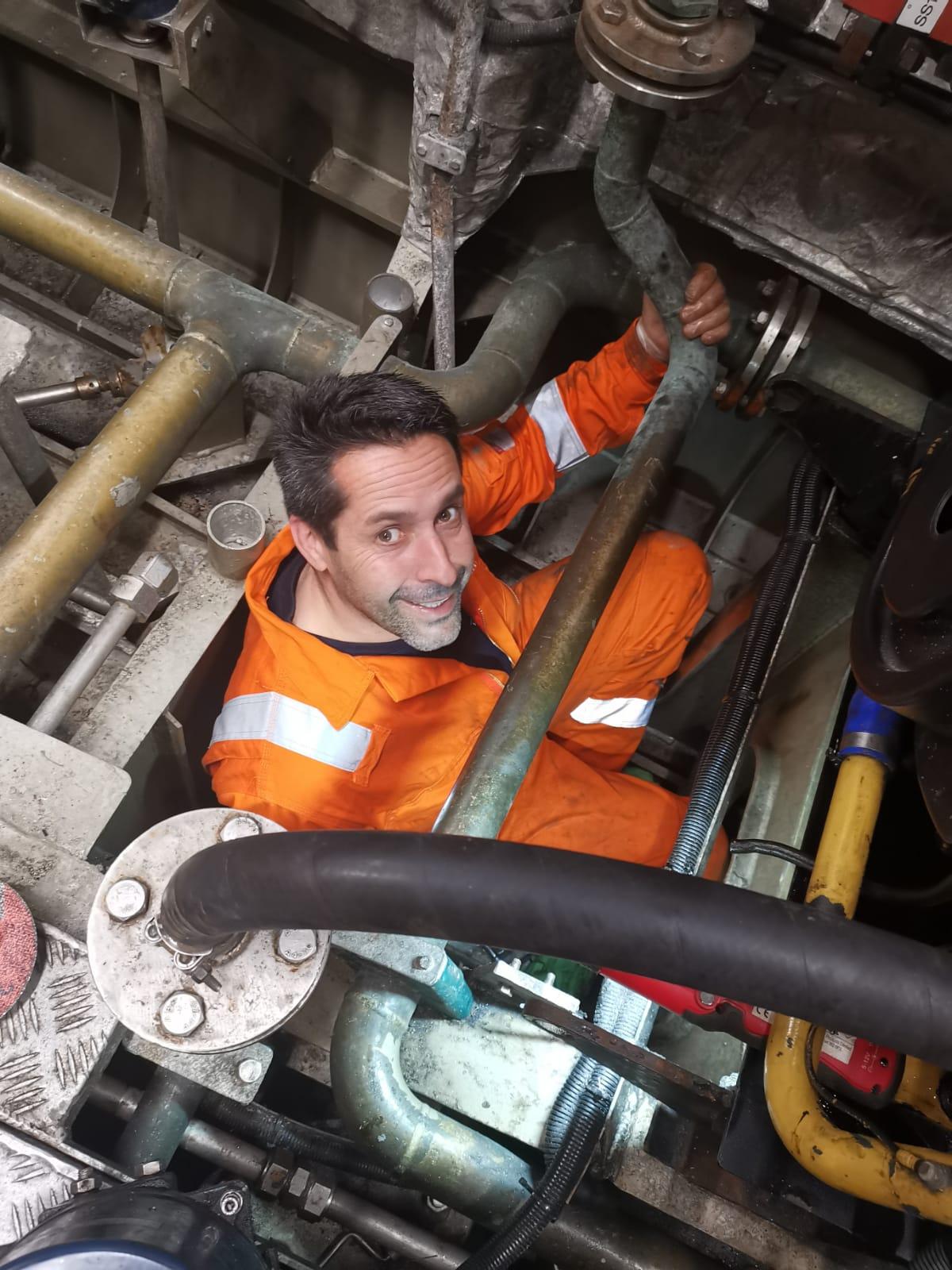 Chris Ancrum - Wightlink Fleet Technician Team Leader - in the bilges of a Wightlink FastCat
