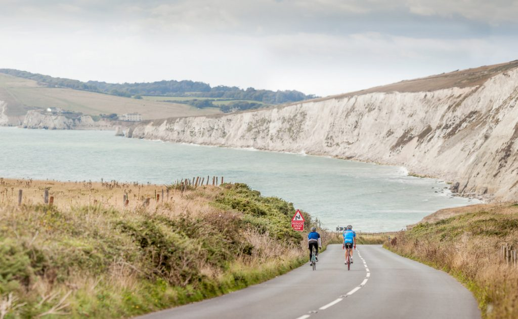 Cycling on Military Road, Isle of Wight