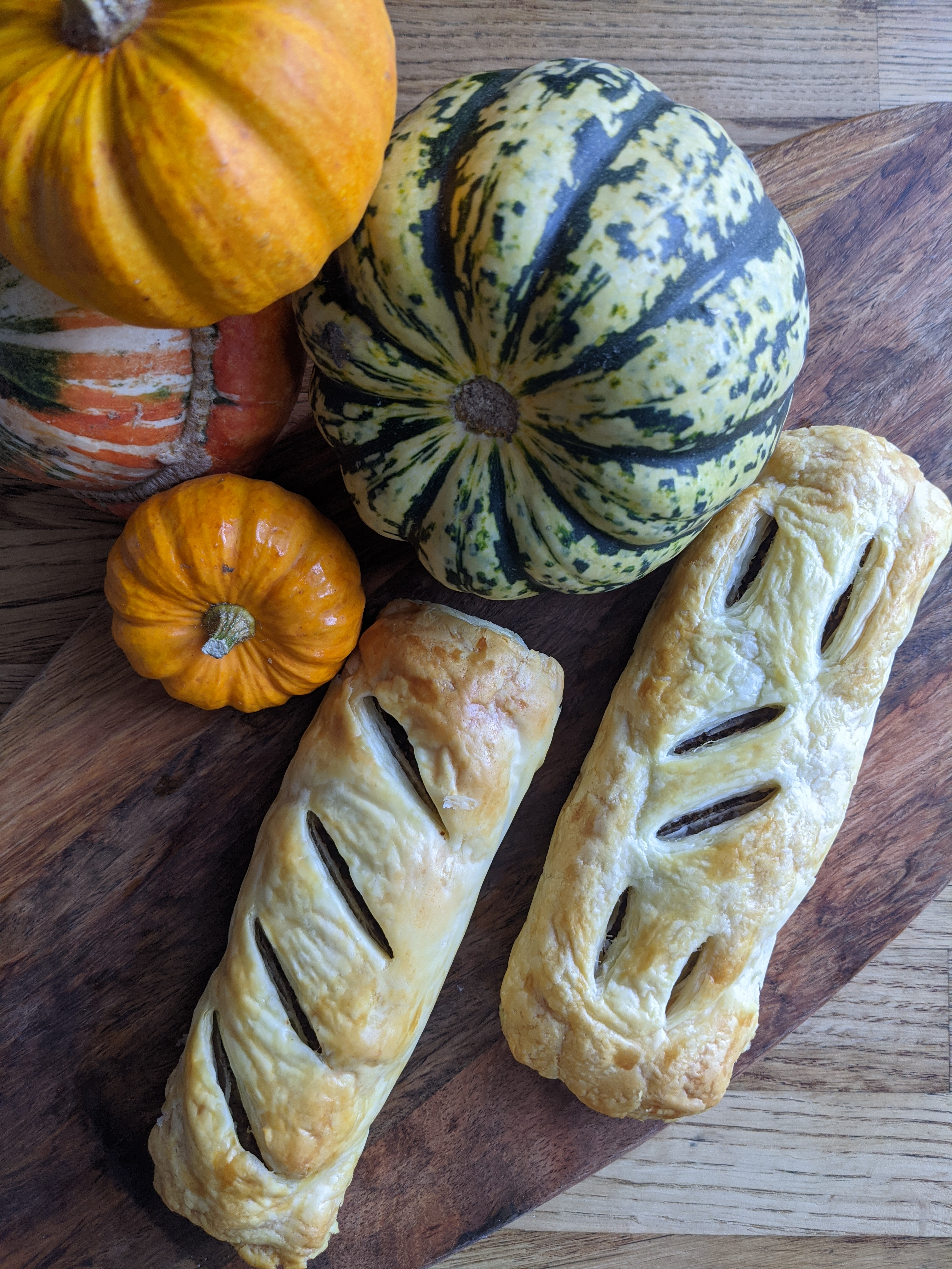 A vegan sausage roll and pumpkins at Tansy's Pantry on the Isle of Wight