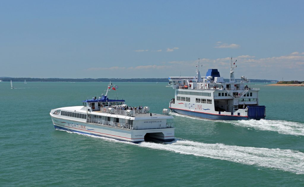 Two Wightlink ferries crossing in The Solent