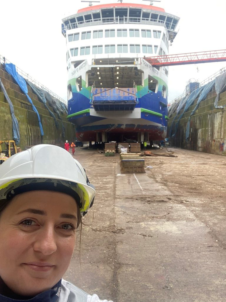Patrycja Jaromirska in front of Victoria of Wight during refit, Chief Officer Portsmouth-Fishbourne, Wightlink
