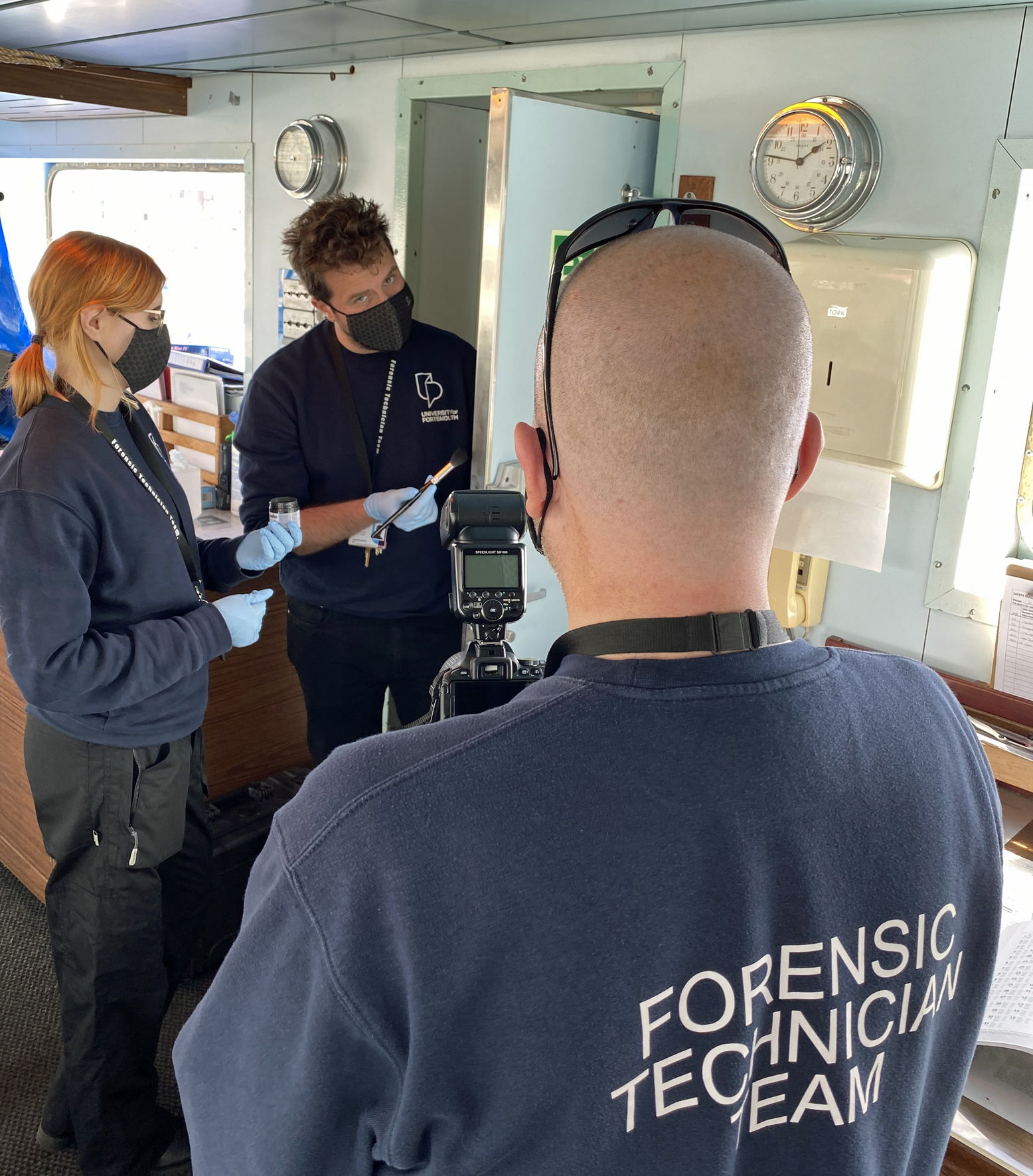Forensic technicians onboard Wightlink's St Faith Ferry