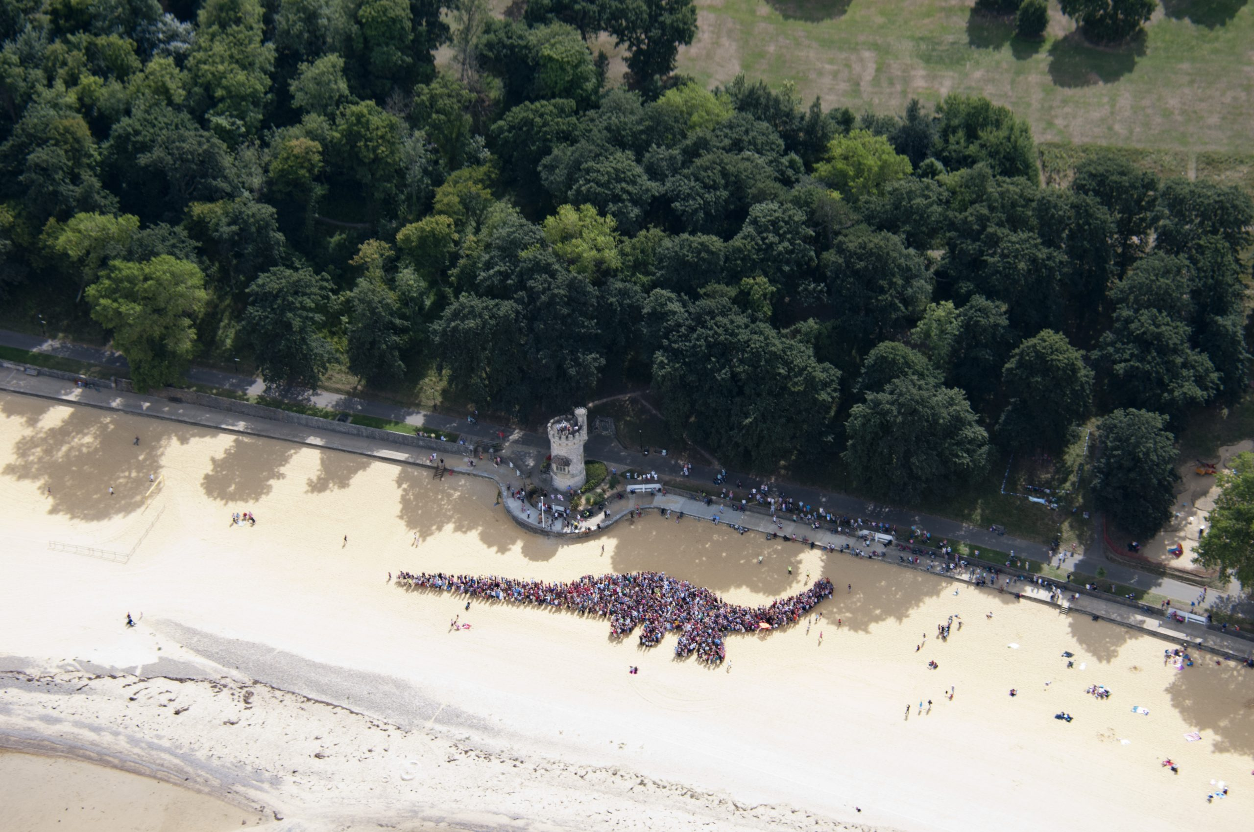 A dinosaur shape made from humans, from the air, Ryde, Isle of Wight