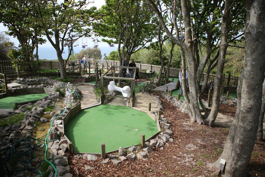Dinosaur mini golf at The Needles Landmark Attraction
