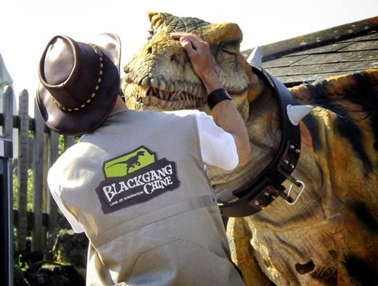 Dinosaur handler at Blackgang Chine, Isle of Wight